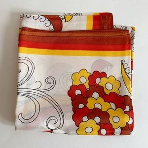 Vtg Multicolore Floral Print Square Scarf Yellow